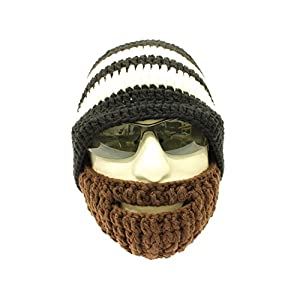 c3c00c8330d Crocheted Beard Hat Black and Two White Stripes Hat with Brown Beard Milk  Cotton Hand Crocheted Beanie Hat