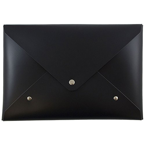 Black Italian Leather Portfolio - JAM PAPER Italian Leather Clutch Portfolio with Snap Closure - Medium - 6 1/8 x 9 x 3/4 - Black - Sold Individually