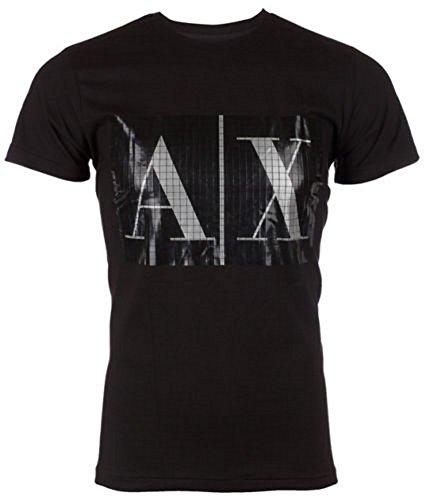 ARMANI EXCHANGE AX Men T-Shirt BOX LOGO Slim BLACK Casual Designer Jean M-XL - M
