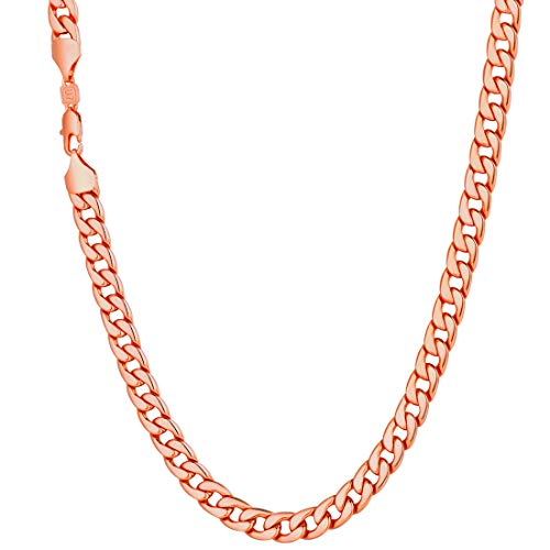 (U7 Men Big Chain 18K Stamp Hip Hop Jewelry Unisex Rose Gold Plated Necklace 7MM Classic Cuban Curb Chain - 24 Inch)
