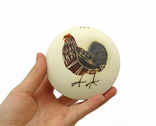 Salt or Pepper Shaker with a Painting of a Rooster. Made of Stoneware. Unique functional and decorative item. (Rooster Pepper)