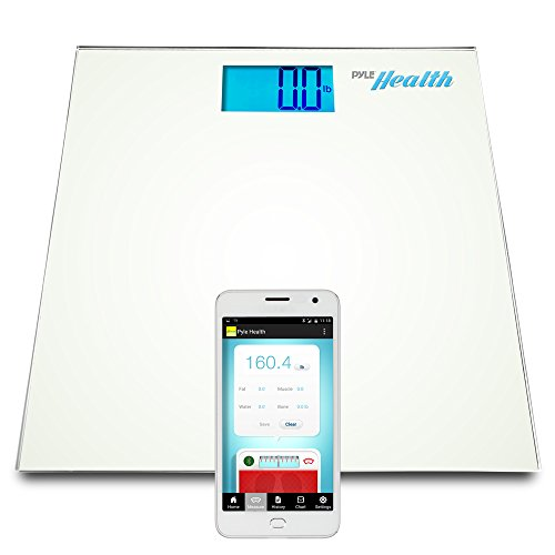 Pyle Smart Bathroom Body Scale with Bluetooth Wireless Smartphone Tracking for iPhone iPad & Android Devices (White) (Smart Phone Weight Scale)