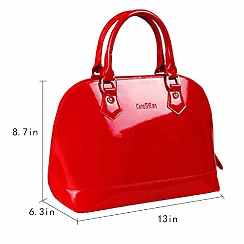 Red Tote Handbag Jelly Handle Shell Leather Bag Bag Satchel Shoulder Boutique Goodbag Lady Bags Patent Handbag Top ywqBIY6a6