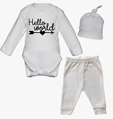 Hello world newborn baby vest pants and hat set babygrow new baby hello world newborn baby vest pants and hat set babygrow new baby gifts newborn baby gifts negle Images