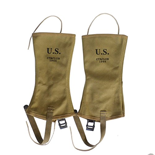 ANQIAO WWII U.S. Leggings Gaiters Khaki Canvas Material Reproduction WW2 by ANQIAO