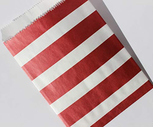 """Bakers Bling Cranberry Red and White Stripe Party Favor Bags with Stickers, 5.5"""" W x 7.5"""" H, Set of 48 Treat Bags and 48 Stickers"""