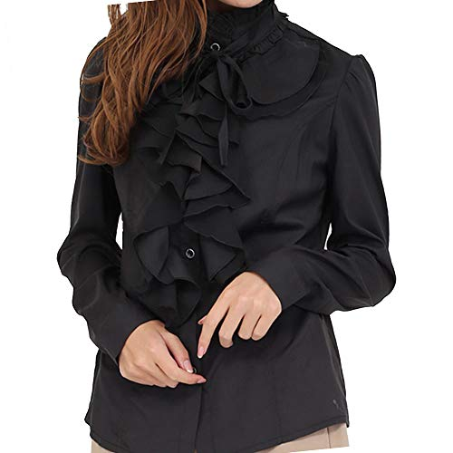 Stand Ruffle Shirt Collar (Women's Ruffle Blouse Long Sleeve Gothic Deco Bow Tie High Neck Dress Shirts (4_L, Black) Chic Fashionable Hope Office Outfits Push up Romantic Sheer Slender Stand Collar Smart)