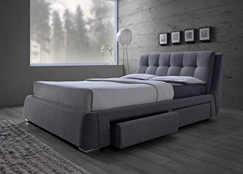 Coaster Home Furnishings 300523KE Upholstered Bed, King, Grey/Chrome