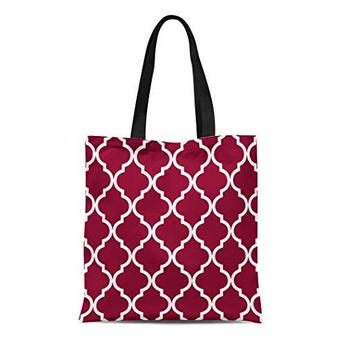 Semtomn Cotton Line Canvas Tote Bag White Classic Quatrefoil Pattern in Cranberry Moroccan Reusable Handbag Shoulder Grocery Shopping Bags