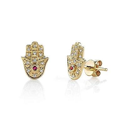 Handgearbeitete Ohrstecker mit Steinen Ohrstecker Gold oder Ohrstecker Damen Hamsa Ohrringe Gold aus 925 Sterling Silber und 14K Gold Plattierung designed in Deutschland.