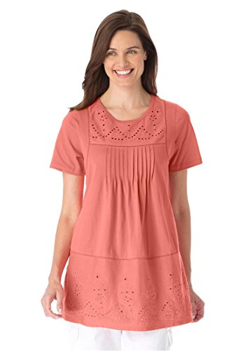 Women's Plus Size Knit Tunic Top Has Pintucks, Eyelet And Open Work Embroidery (Dusty Coral,4X)