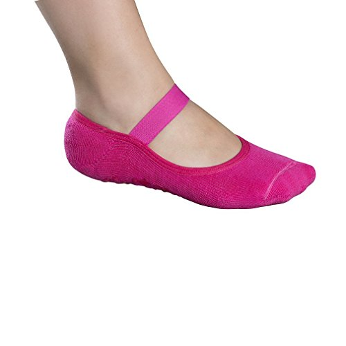 Lupo Women's Butterfly Terry No Slip Yoga Barre House Grip Socks, Large Pink Review
