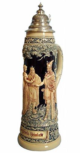(King German Beer Stein Siegfried's return, replica from year 1890 2 liter tankard, beer mug, Limitaet)