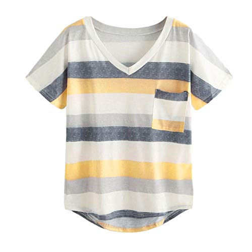 (VLDO Summer Womens Sexy Stripe V-Neck Tops Short Sleeve T-Shirt Pocket Block Color)