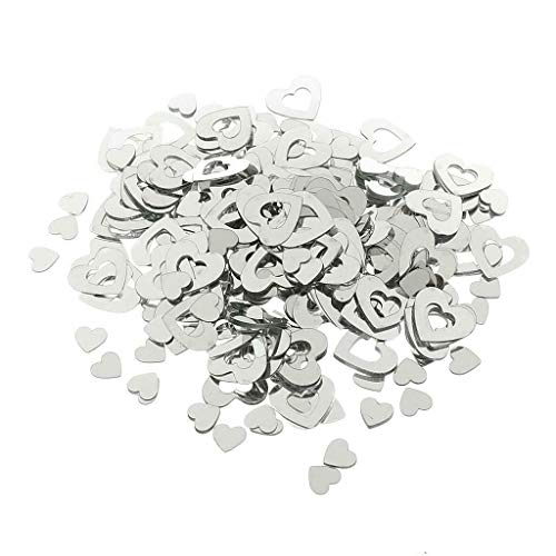 - BROSCO Wedding Heart/Star Table Confetti Foil Decoration Birthday Party Confetti Supply | Color - Silver Hollow Heart