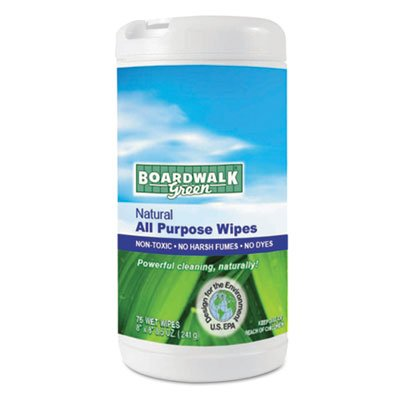Boardwalk 3736 Natural All Purpose Wipes, 7 x 8, Unscented, 75 Wipes Per Canister (Case of 6)