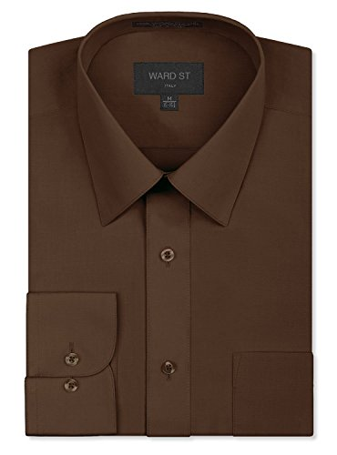 Ward St Men's Regular Fit Dress Shirts, XL, 17-17.5N 34/35S, Brown