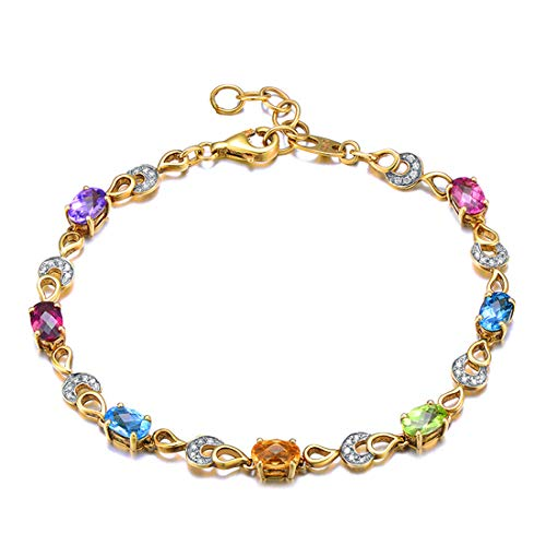 Carleen 14K Solid Yellow Gold 3.6cttw Multicolored Rainbow Aquamarine/Peridot/Citrine/Sapphire/Garnet/Blue Topaz/Amethyst Dainty 0.18cttw Diamond Tennis Bracelet Jewelry for Women Girls, 7