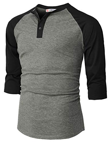 H2H Men Casual Slim Fit Henley T-Shirt Raglan 3/4 Sleeve Spandex Blended T-Shirt HeatherGray US S/Asia M - Spandex Sleeve Henley 3/4
