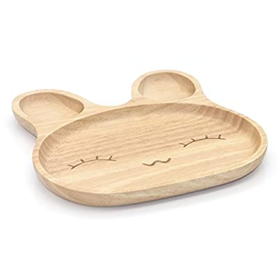 Geeklife Cute Baby Wood Rabbit Pattern Plate,Creative Smiling Face Kids Dinner Plate,Healthy and Eco-friendly
