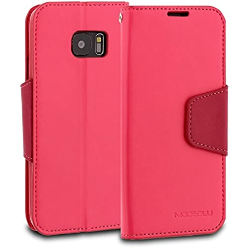 Galaxy S7 Edge Case, ModeBlu [Classic Diary Series] [Hot Pink] Wallet Case ID Credit Card Cash Slots Premium Synthetic Sales