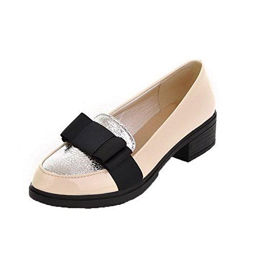 Allhqfashion Dames Lakleder Optrokken Lage Hakken Diverse Kleuren Pumps-schoenen Beige