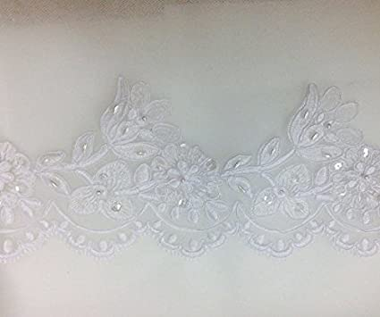 Ivory pearl and sequined lace trim bridal lace trim selling per yard beading cord lace trim