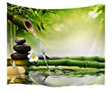 A.Monamour Zen Meditation Idea Green Bamboo Water Natural Scenery Print Eco-Friendly Cloth Wall Hanging Tapestry Yoga Blankets 229x153cm/90 x60