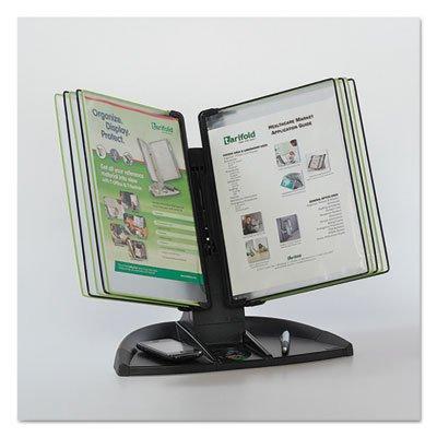 Modular Reference Display Black Line Desk Set, 10 Wire-Reinforced Pockets