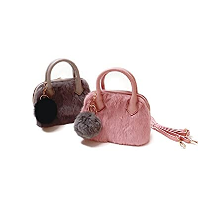 Frills Girls Furry Purse - Perfect Handbag for kids, teens and women! Leather purse with fur and shoulder strap!