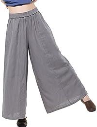 Women's Linen Wide leg Elastic Waistband Pants with Pockets