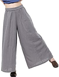Mordenmiss Women's Linen Wide Leg Elastic Waistband Pants with Pockets