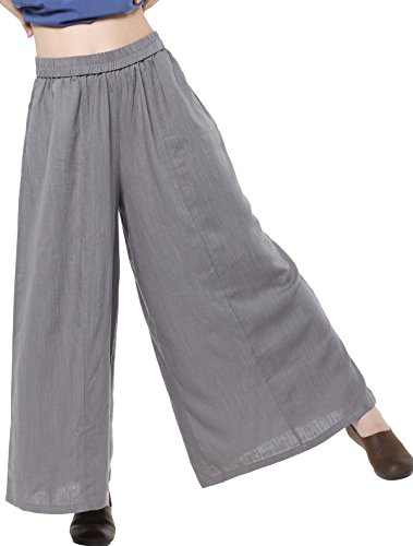 Mordenmiss Women's Linen Wide Leg Elastic Waistband Pants with Pockets (Medium, Gray)