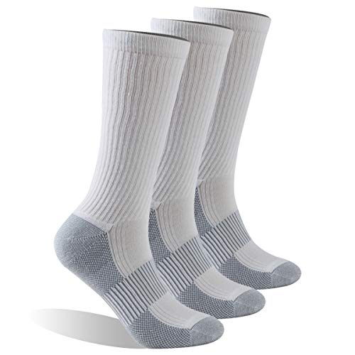 Dsource Women Men Athletic Running Cushioned Crew Copper Socks 3 Pairs White