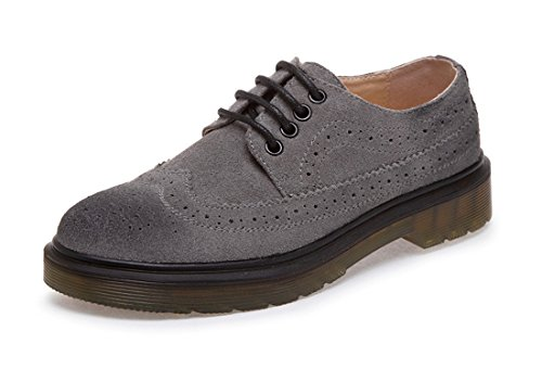 Honeystore Unisexe Rétro British Brogue Chaussures Lacets Microsuede Loafer Appartements Gris