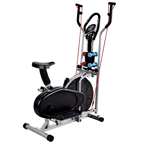 Murtisol Fan Bike Elliptical Machine Exercise Bike w/Adjustable Seat,LCD Monitor, Hand Weights,Resistance Bands for Home Gym Office