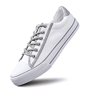 AOMAIS Womens Reflective Canvas Sneakers Light Shoes Laces Casual Shoes(White Silver,US8)…
