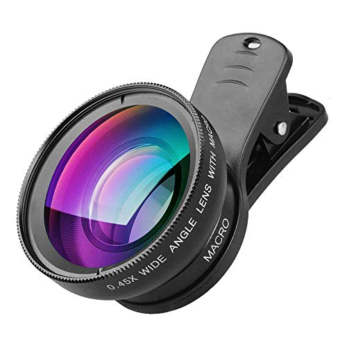 Cell Phone Camera Lens 2 in 1 Clip-on Lens Kit 0.45X Super Wide Angle & 12.5X Macro Phone Camera Lens for iPhone 8 7 6s 6 Plus 5s Samsung Android & Most Smartphones Black by Apexel