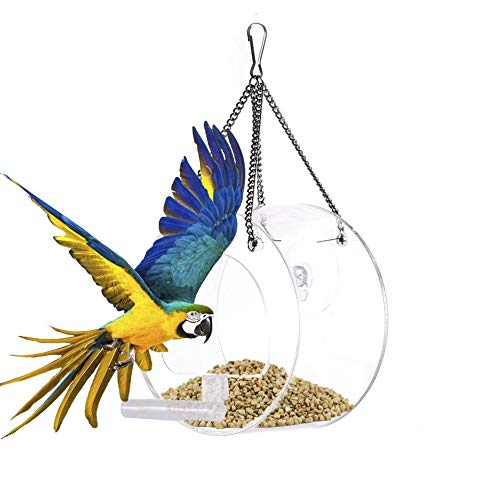 combnine Acrylic Bird Feeder Triangle Circular House Type Transparent Waterproof Bird Feeding Device, Hanging Or Suction Cup Adsorption with Metal Chain, Suitable for Gardens, Balconies, Fences