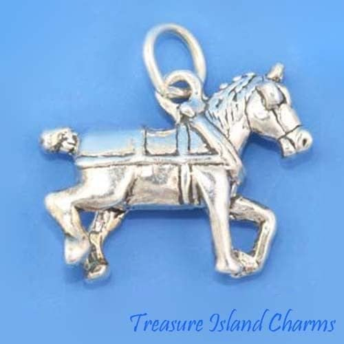 Sterling Silver 3D Horse Bridle Charm With Beautiful Details