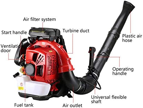 ZWYSL 2-Cycle Petrol Backpack Leaf Blower, 85cc Snow Blower Gasoline Blower for Clears Leaves, Snow, Sand, Gravel Red