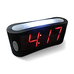 Travelwey HOME LED Digital Alarm Clock - Outlet Powered, No Frills Simple Operation, Large Night Light, Loud Alarm, Snooze, Full Range Brightness Dimmer, Big Red Digit Display, Black