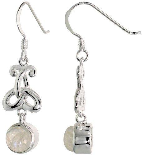 Sterling Silver Triquetra Earrings Celtic Trinity Knot Gemstone Dangling Fishhook Flawless Finish 1 3/8 inch