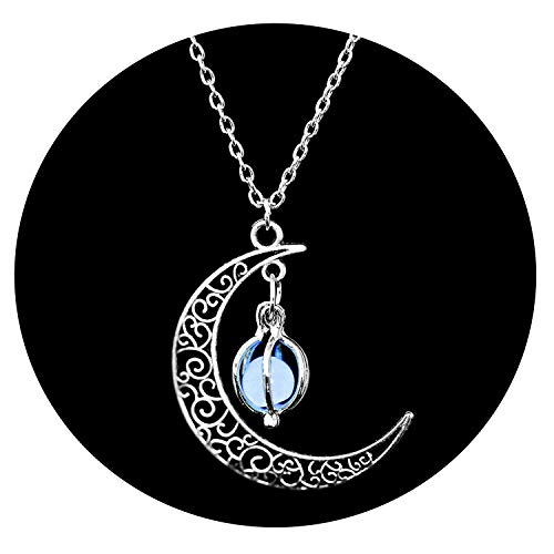 Enjoyourself Hot Moon Glowing Necklace Silver Plated,Halloween Hollow Luminous Stone Necklace Gifts -
