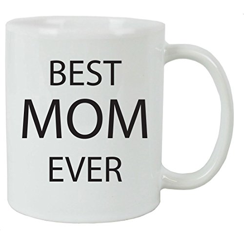 Best Mom Ever 11 oz White Ceramic Coffee Mug with Gift Box - Great Gift for Father's Day, Birthday, or Christmas Gift for Dads and Fathers