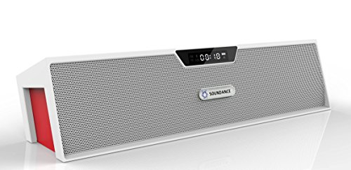 Soundance Bluetooth Speakers with FM Radio, Alarm Clock, Built-in Mic, LED Display, Support 3.5 mm Audio Jack, Micro SD Card & USB Input, Model SDY019(White)