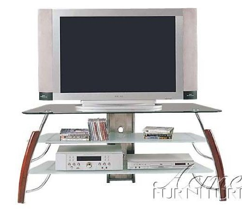 Tv Cherry Stand Plasma (Plasma LCD TV Stand Chrome Cherry Finish)