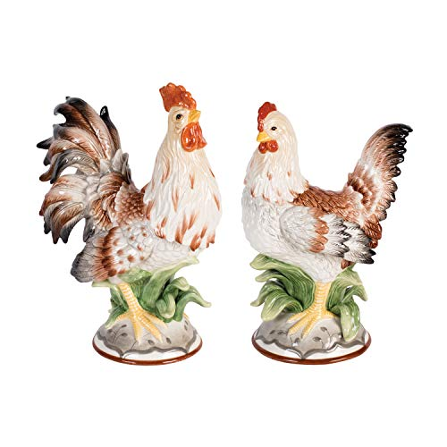 Fitz & Floyd	55-145	Farmstead Home	Rooster and Hen Figurines	Set of 2	Assorted