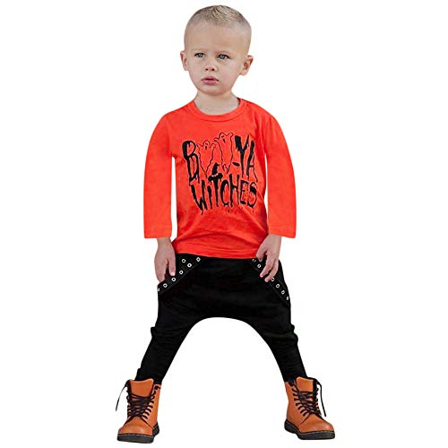 Clearance Sale! Daoroka 2018 Halloween Costume Set Toddler Baby Letter Boys Tops Letter Print Tops Shirt Pants Clothes Sets Outfit