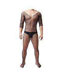 Men's See-Through Bodysuits Fishnet Tights Underwear One Piece Pantyhose Stocking Lingerie Nightwear Pajamas